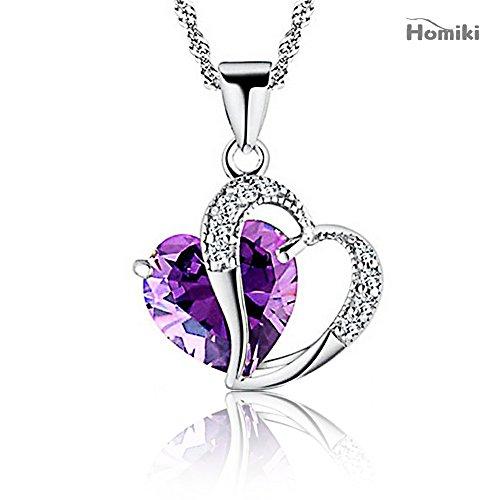 homiki Halskette aus Silber Frauen Schwerpunkt Herzen Amethyst Diamant Swarovski Elements Crystal Love Halskette Anhänger (Anzeige Home Akzente)