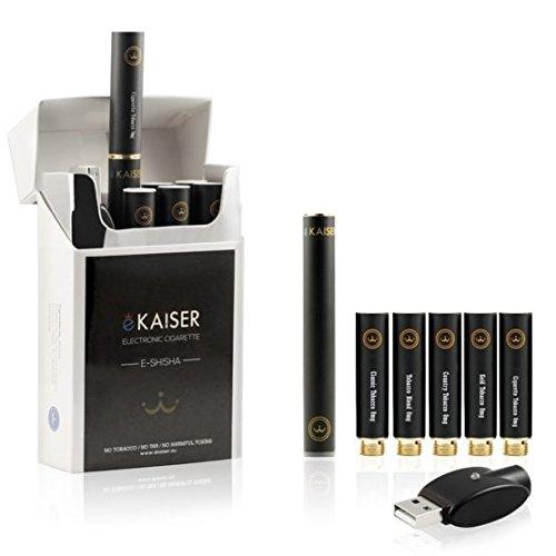 E-Zigarette Starterset - E-Shisha - Wiederaufladbar - 5 x Premium E Tabak Liquids - Neue und verbesserte Version