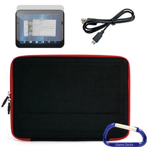 Gizmo Dorks Hard Shell EVA-Schutzhülle (schwarz mit rot), Displayschutzfolie, und Micro USB Kabel mit Karabiner Schlüsselanhänger für HP TouchPad Schlüsselanhänger Touchpad