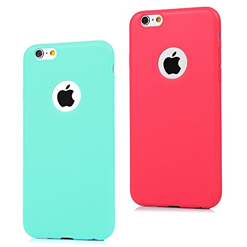 2x Coque iPhone 6 Plus / iPhone 6S Plus Transparente Housse en Silicone Gel Souple TPU Antichoc Résistant Ultra Mince Slim Étui Coloré Simple Case Cover Flip Téléphone Portable Mat Coque Protection po Bleu * Rouge