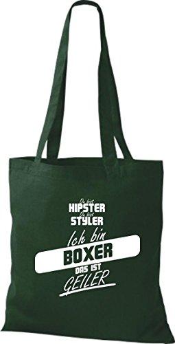 Shirtstown Stoffbeutel du bist hipster du bist styler ich bin Boxer das ist geiler gruen