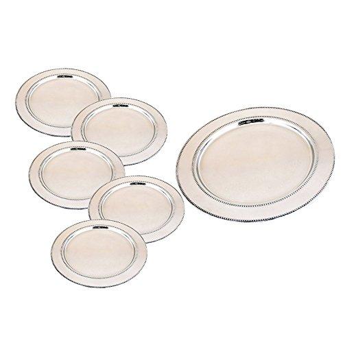 Kosma Set aus 6 Edelstahl Ladegerät Platten - 33cm Wide Dekorative Unterplatten | Polierte Ladegerät Platte