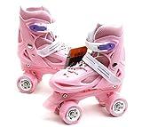 ZJQTT Pas de Peur Enfants Quad Skates Filles Skate Shoes Rollers À Patins À roulettes Réglables,Pink,XS