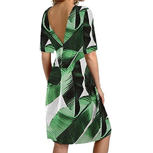 MEIbax Damen Sexy Floral Casual Kleid V-Ausschnitt Kurzarm Knielanges Kleid Sommer Strandkleid Elegante Boho A-Linie Kleider Partykleider