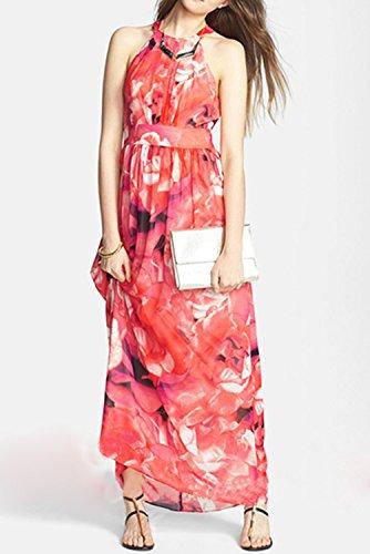Azbro Women's Fashion Floral Print Halter Maxi Evening Dress Multicolored