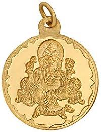 Bangalore Refinery 2 Gm Round Ganesh 24k (999) Yellow Gold Pendant