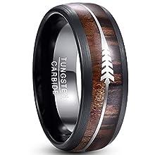 Vakki Ring 8mm Hawaii Koa Holz und Pfeil Inlay Hartmetall Versprechen Ring Gewölbte Kante Comfort Fit 61(19.4)