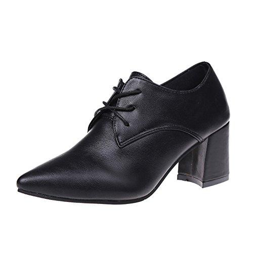 Stiefel Damen Boots Biker Boot Britische Stiefel Pumps Lace-Up Schuhe High Block Ferse Knöchel Schuhe Leder Schnürschuhe ABsoar