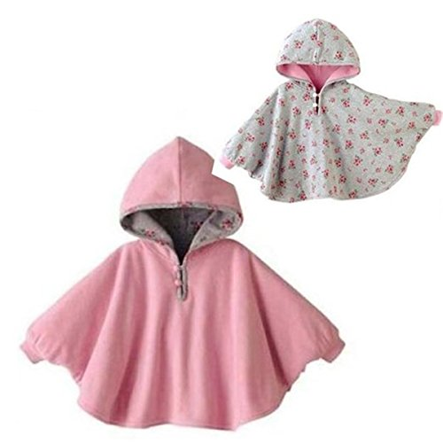 Tailloday Baby Kids Toddler Double-side Wear Hooded Cape Cloak Poncho Hoodie Coat (0-12 Monthes, Pink)