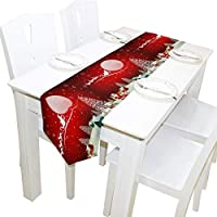 BIGJOKE 13x90 inches Long Table Runner Snow Man Christmas Decorative Polyester Table Runners Tablelcoth for Home Coffee Kitchen Dining Table Party Banquet Holiday Decoration