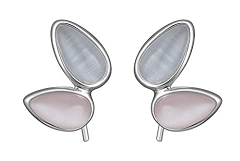 Lanfeny Simulated Cats Eye Sterling Silver Stud Earrings Dual Leaf Style, Spring Bi-Color