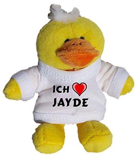 Jayde Bekleidung (Plüsch Hähnchen Schlüsselhalter mit einem T-shirt mit Aufschrift mit Ich liebe Jayde (Vorname/Zuname/Spitzname))