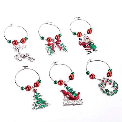 e Dekoration Ring, Weinglas Dekorationen Marker Glas Anhänger Zubehör Charms Party Weihnachten Neujahr Hochzeit Tasse Ringe(#3) ()