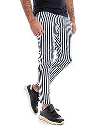 ef7e33e35e7b Giosal Pantalone Uomo Rigato Tasca America Righe Bicolore Slim Cotone