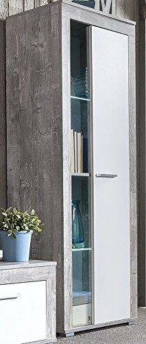 9.9.8.2946: Serie AWBW - Vitrine - Vitrinenschrank - weiss-grau gescheckt dekor - Glasvitrine - 1 Tür mit Glas