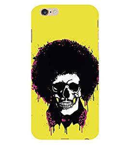 HiFi Designer Phone Back Case Cover Apple iPhone 6 :: Apple iPhone6 ( Skull Curly Hair Look Yellow Look )