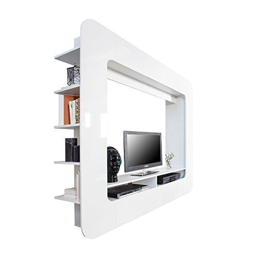 Design Medienwand CUBUS weiß 185cm Hochglanzfront 3D Optik Wohnwand TV Wand