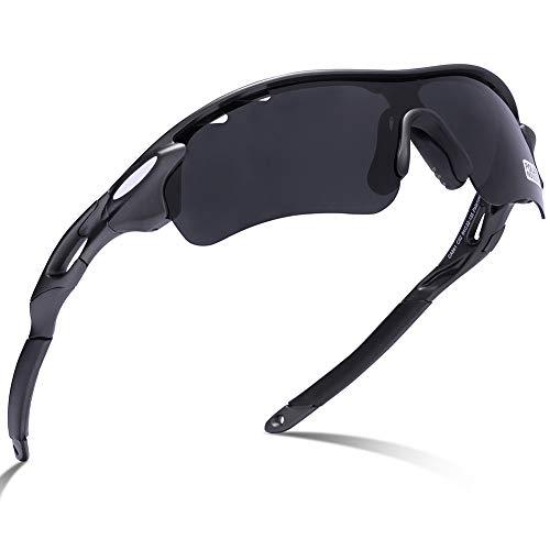 Carfia Sport Sonnenbrille UV400 Schutz Polarisierte Sonnenbrille Sportbrille für Herren Damen, 5 Wechselbare Linsen (B),D-2 -