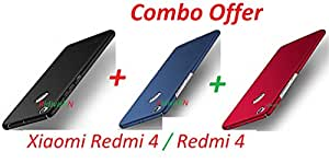 "Mi 4 / Redmi 4 / Xiaomi Redmi 4 / Redmi4 / Mi Redmi 4 (COMBO OFFER) All Sides Protection ""360 Degree"" Sleek Rubberised Matte Hard Case Back Cover ( Black + Blue + Red ) BY RidivishN"