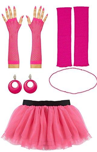 80er Jahre Set Damen Neon pink Tutu-Rock Beinstulpen Handschuhe kurz oder lang Halskette Ohringe Party Tutu Kostüm (Handschuhe lang)