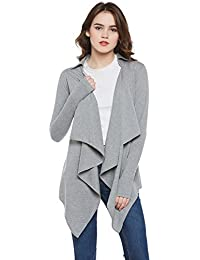 c9d0759b7c4a0 Hypernation Grey Color Cotton Blend Waterfall Shrug for Women(HYPW01744)