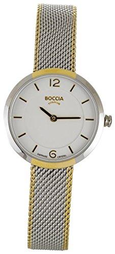 Boccia Damen Analog Quarz Uhr mit Edelstahl Armband 3266-06
