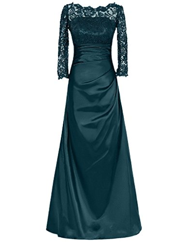 Olidress Women's Long Sleeve Lace Top Satin Mother of the Bride Dress Dark Teal US26 (Top Lace Teal)