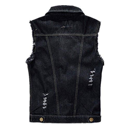 WS668 Hommes Rétro Déchiré Vest Denim Sans Manches Gilet Revers Manteau Haute Qualite Classique Mens Jean Veste Noir