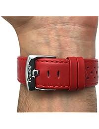 20mm rojo con ventilación Racer piel auténtica correa para reloj banda, con hebilla de acero inoxidable, nuevo.
