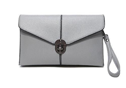 Auspicious beginning Frauen Clutch Bag Cross-Body Schulter Messenger Umschlag Handtasche grau
