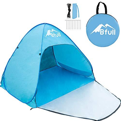 Bfull Strandmuschel, Extra Light Automatisches Strandzelt mit Reißverschlusstür und UV-Schutz, Familien Portable Beach Zelt in Blau, Outdoor Tragbar Wurfzelt