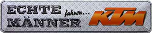 Preisvergleich Produktbild Echte Männer fahren KTM Parking Motorrad Bike Blechschild 46x10 cm STR179