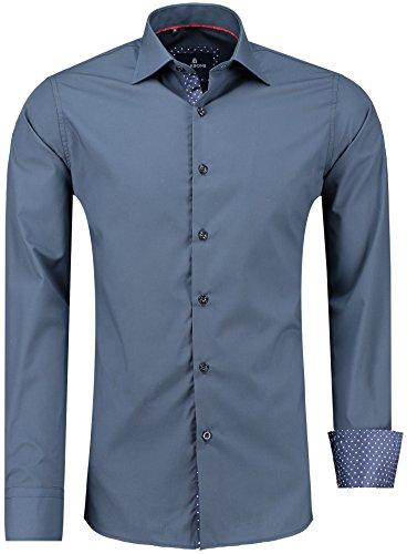 Barbons Herren Premium Business-Hemd Slim-Fit Männer Hemden für Freizeit, Business und Hochzeit - Super Modernes und Bügelleichtes Langarm Premium-Hemd Navy Dunkel-Blau XXL