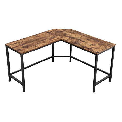 VASAGLE Computertisch, L-förmiger Schreibtisch, Eckschreibtisch, platzsparender Bürotisch im Industrie-Design, Gaming, einfacher Aufbau, Vintage,...