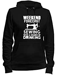 T-Shirtshock Sudadera con Capucha para Las Mujeras Negro WES1081 Weekend Forecast Sewing with A