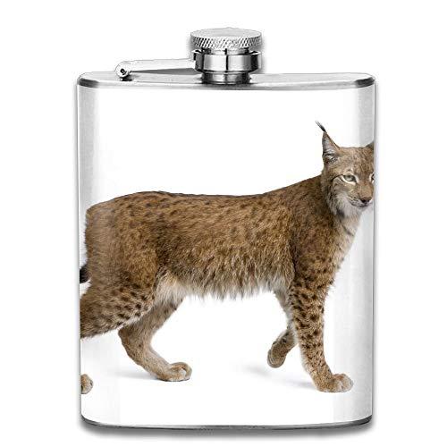 Hoklcvd Eurasian Lynx Lynx Lynx Years Old Standing In Front of White Background Studio Shot Gift for Men 304 Stainless Steel Flask 7oz
