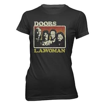 The Doors - - La Frauen, Mädchen, Kurzarm T-Shirt in Schwarz, Large, Black