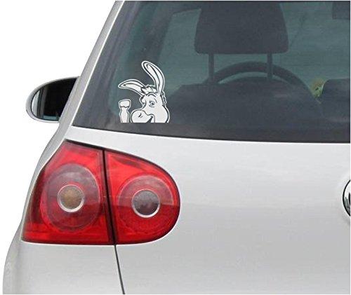 Aufkleber / Autoaufkleber - JDM - Die cut - DONKEY Decal SHREK Auto Laptop Window Vinyl - Folie Sticker - silber - 88mm x106mm