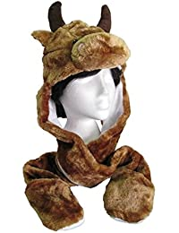 Adults Kids Unisex 3 in 1 Furry Animal Face Trapper Hat Scarf Mitt Combo Pocket (BULL)