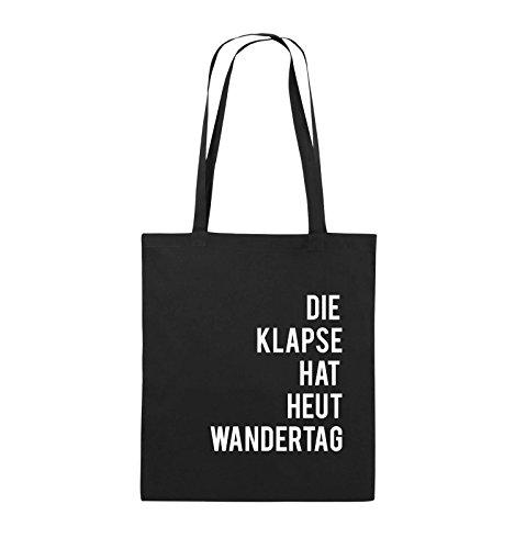 Comedy Bags – DIE KLAPSE HAT HEUT WANDERTAG – Jutebeutel – lange Henkel – 38x42cm – Farbe: Schwarz / Weiss