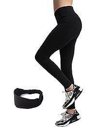 Damen Leggings lang Sport Yoga Hose Stretch Workout Schwarz mit Tasche