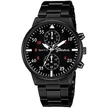 Naturazy-reloje 688 Geneva,Reloj de Acero Inoxidable Negro Clásico de Lujo Calendario de