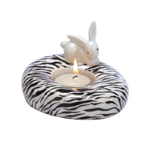 Goebel - 66874439: Bunny de luxe - Zebra Bunny - Teelichthalter -