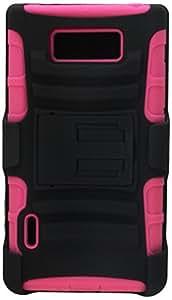 Eagle Cell PRLGUS730SPSTHLHPKBK Hybrid Rugged TUFFSUIT with Kickstand for LG Splendor/Venice US730 - Retail Packaging - Hot Pink/Black