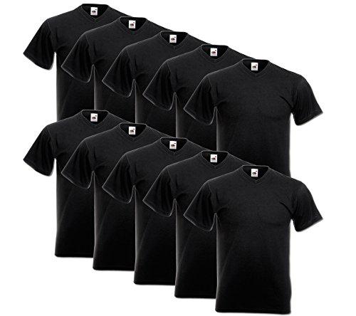 10 Fruit of the loom T Shirts V-Neck M L XL XXL V-Ausschnitt Diverse Farben -HL-Kauf Schwarz