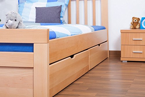 "Single bed / storage bed ""Easy Sleep"" K8 includes 4 drawers and 2 cover plates, 140 x 200 cm solid, natural beech wood"
