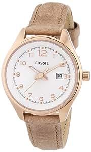 Fossil Damen-Armbanduhr XS Analog Quarz Leder AM4501
