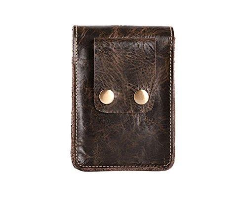 Genda 2Archer Kleine Mini-Gürteltasche Leder Geld Taille Tasche (Schwarz 1) Kaffee 2