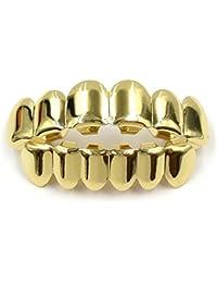 Symboat - Grill para dientes, estilo Hip Hop, grillz para dientes, plateado/dorado