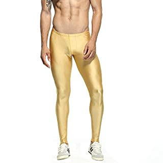 AIYoo Mens Running and Training Tights Men's Performance Gym Yoga Sports Running Fitness Pants Sports Wear Leggings Running Trousers for Workout Training Jogging Exercise Gold